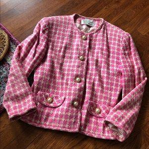 Focus 2000 Pink houndstooth blazer jacket